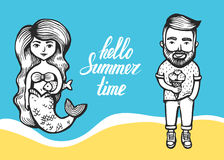 Sjöjungfru med lång hår och fisk och Hipster med glass på en marin- bakgrund sommarklotter med bokstäver cartoon royaltyfri illustrationer