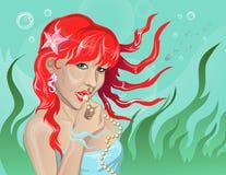 Sjöjungfru med pärlor Vektor Illustrationer