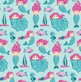 Sjöjungfru med rosa hår, sömlös modell för vektor Stock Illustrationer