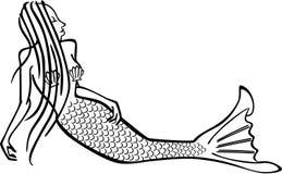 Sjöjungfru med snäckskal stock illustrationer