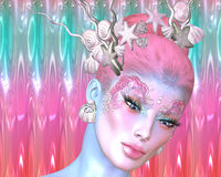 Sjöjungfru mytologiskt vara i en modern digital konststil Arkivbilder