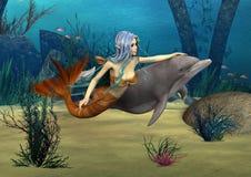 Sjöjungfru och delfin stock illustrationer