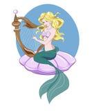 Sjöjungfru och harpa Arkivbild