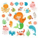 Sjöjungfru- och havsvänner Arkivfoto
