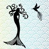 Sjöjungfru och kolibri royaltyfria foton