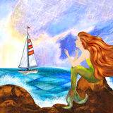 Sjöjungfru och segelbåt Royaltyfri Fotografi