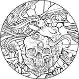Sjöjungfru och skalle stock illustrationer
