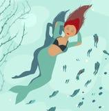 Sjöjungfru som drömmer av ben Royaltyfria Bilder