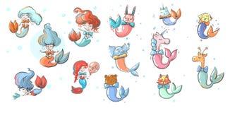 Sjöjungfruflickor och djur med illustrationen för fisksvansvektor royaltyfri illustrationer