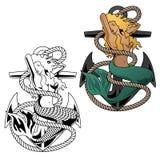 Sjöjungfrukvinna på ankarvektorillustration stock illustrationer