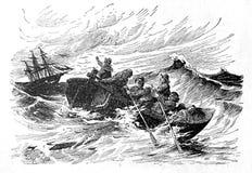 Sjömän är nödställda stock illustrationer