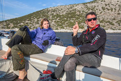 Sjömän deltar i den 16th Ellada för seglingregatta hösten 2016 bland den grekiska ögruppen i det Aegean havet Fotografering för Bildbyråer