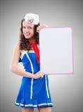Sjöman för ung kvinna i marin- begrepp Royaltyfri Bild