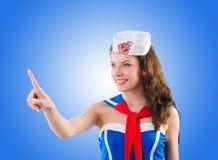 Sjöman för ung kvinna i marin- begrepp Royaltyfria Bilder