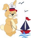 Sjömankanin som leker med ett fartyg stock illustrationer