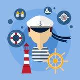 SjömanMan Ship Crew symbol vektor illustrationer