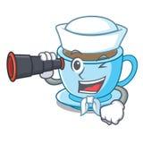 Sjömannen med binokulärt mjölkar te i tecken formen vektor illustrationer