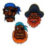 Sjömannen och kaptenen piratkopierar huvud Arkivbilder