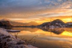 Sjön blödde i vintern, Slovenien, Europa Royaltyfria Foton