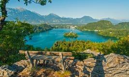 Sjön blödde, sikten från över, Slovenien Arkivfoton
