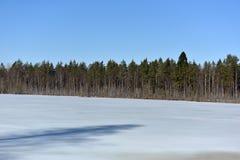 Sjön i Karelia täckte med snö och is Royaltyfria Bilder