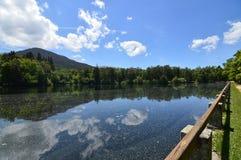 Sjön kallade havet med molnen reflekterade i vattnet i trädgårdarna av lantgården Art History Biology fotografering för bildbyråer