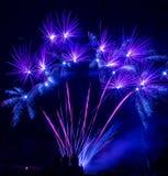 Sjön Madison och staden av Madison, South Dakota firar 4th Juli med fyrverkerier Arkivbilder