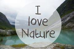 Sjön med berg, Norge, text älskar jag naturen Arkivfoton