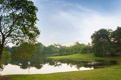 Sjön parkerar in omgivet av det gröna fältet och träd fotografering för bildbyråer