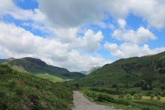 Sjöområdeslandskap lilla Langdale Cumbria Royaltyfria Bilder
