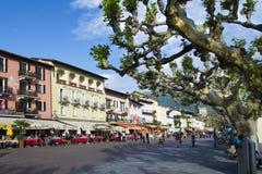 Sjösida i Ascona, Ticino, Schweiz Royaltyfri Bild
