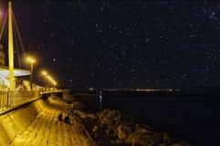 sjösida med stjärnklar himmel Royaltyfri Foto