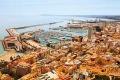 Sjösidadel av Alicante och port spain Fotografering för Bildbyråer