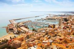 Sjösidadel av Alicante och port spain Royaltyfri Fotografi