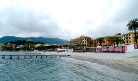Sjösidalandskap av Santa Margherita Ligure, Italien Royaltyfri Bild