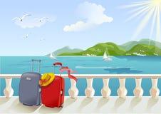 Sjösidapromenad och resväskor stock illustrationer