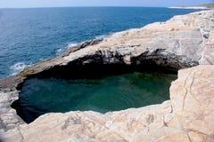 Sjösidasikt från Tassos Greece Arkivbild