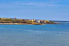SjösidasiktsCityscape av Colonia De Sant Pere - Majorca - Spanien arkivbild