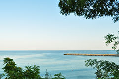 sjösidasolnedgångsikt Royaltyfri Fotografi