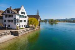 Sjösikt av Stein am Rhein, Schweiz Fotografering för Bildbyråer