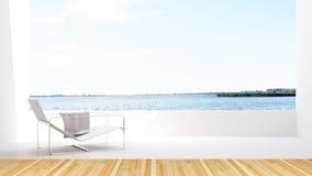 Sjösikt och daybed på terrass i hotellet - tolkning 3D Arkivfoto