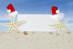 Sjöstjärna två med ett tomt baner på stranden Fotografering för Bildbyråer