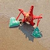 Sjöstjärnan som dekoreras med jul, leker med skugga som julträd på stranden royaltyfri fotografi