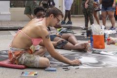 Sjövärde, Florida, USA Fab 23-24, 25Th årliga gata som 2019 målar festen royaltyfria bilder