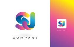 SJ de Mooie Kleuren van Logo Letter With Rainbow Vibrant Kleurrijk t Royalty-vrije Stock Foto's