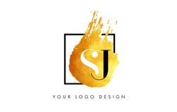SJ gouden Brief Logo Painted Brush Texture Strokes Royalty-vrije Stock Foto's