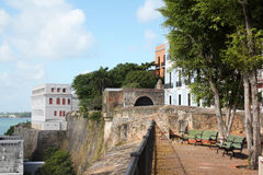 SJ - Oude stadsmuur Castillo San Felipe del Morro Stock Foto's
