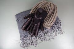 Sjaal, handschoenen en beanie royalty-vrije stock afbeelding