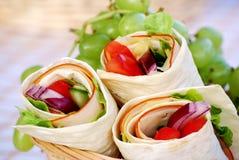 Sjalsmörgåsar i picknickkorg Royaltyfria Foton