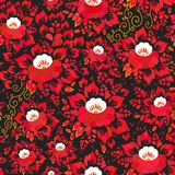 Sjaskig chic sömlös modell för tappning med röda apelsinblommor och sidor på svart bakgrund romantisk garnering för vår, pastell  royaltyfri illustrationer
